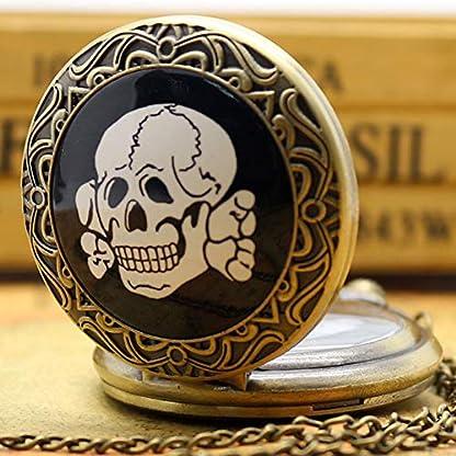 Taschenuhr-fr-Herren-Totenkopf-Design-Vintage-Bronze-Gehuse-Taschenuhr-Halskettenanhnger