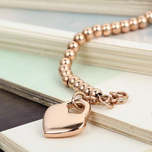 Flongo Partnerarmbänder Freundschaftsarmband, 2 Stück Edelstahl Armband Armreifen Armkette Silber Rose Gold Kugel Kette Perle Perlen Herz Herzen Schloß Sperren Lieben Valentien Herren,Damen Set