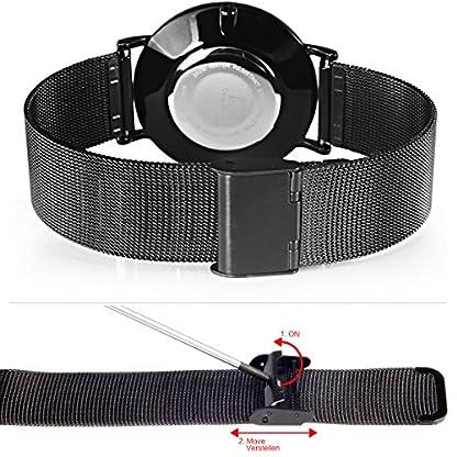 Alienwork-IK-Unisex-Edelstahl-Armbanduhr-Damen-und-Herren-analog-I-Milanaise-Armband-Metallarmband-I-Uhr–40mm-I-Herrenuhr-Damenuhr-I-Schlicht-elegant-und-sportlich