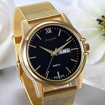 JewelryWe-Herren-Armbanduhr-Luxus-Elegant-30M-Wasserdicht-Kalender-Analog-Quarz-Uhr-mit-Gold-Edelstahl-Mesh-Armband-und-Schwarz-Runde-Zifferblatt