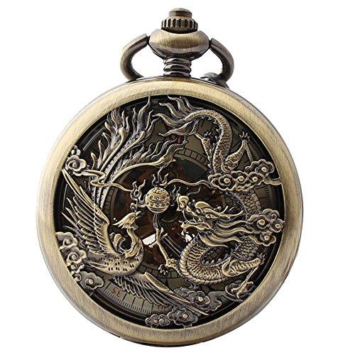lekima-Taschenuhr-Taschenuhr-Aufhngen-eine-Kette-Anhnger-Skelett-Drache-Phnix-rmischen-Zahl-Gravur-gestreift-Mechanische-Bewegung-Legierung-Herren-Damen-Geschenk
