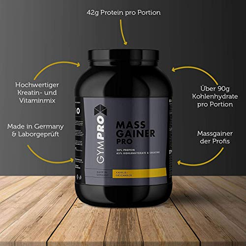 GymPro Weight Gainer Professional mit Protein, Kohlenhydrate (Maltodextrin, Dextrose) und Aminosäuren + Kreatin (Erdbeere, 2500g)