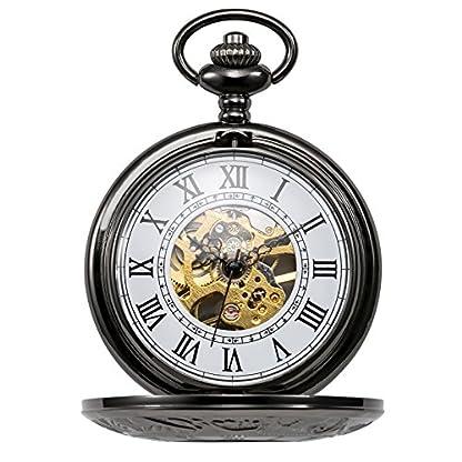 TREEWETO-Retro-Handaufzug-Mechanische-Taschenuhr-Herren-mit-Kette-Skelett-Uhr-Rmische-Ziffern-Taschenuhren-mit-Geschenkbox-Farbe-Grauschwarz
