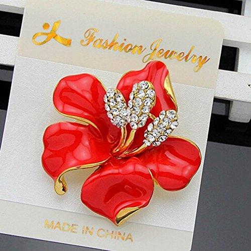 YAZILIND Crafted Strass Kristall Rote Lilien-Blumen-Hochzeits-Brosche Frauen Schmuck Zubehör