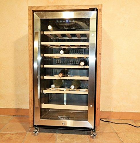 exklusiver-2-Zonen-Weinkhlschrank-mit-Fassholz-von-alten-Weinfssern-Eiche-fr-26-Flaschen-Einzelstck-extrem-leise-und-rollbar