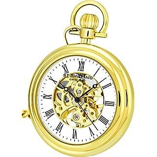 Stuhrling-Original-Herren-Jahrgang-Mechanisches-Wind-skelett-23K-Gold-berzogen-47mm-Taschenuhr-mit-12-Kette-und-Grtelclip-19-Juwelen-30-Stunden-Power-Reserve