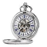 TREEWETO-taschenuhr-mit-kette-herren-silber-rmische-ziffern-retro-uhr-graviert-gehuse-taschenuhren-mechanisch-pocket-watch