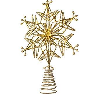WeRChristmas-Weihnachtsbaumspitze-mit-25-warmen-LED-Lichtern-Mehrfarbig-32-cm