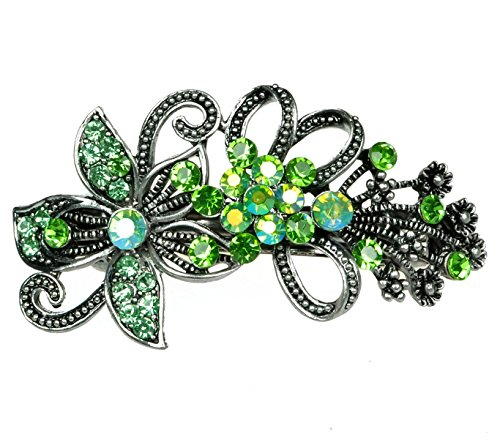 Wunderschöne Strass Haarspange Hochzeit Braut Blume Haarclip 6,5 cm Grün (HP006)