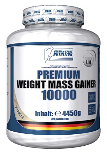 Weight Gainer 10000, 4450g Kohlenhydraten Plus Whey Protein & Creatin & Glutamin (Vanille)
