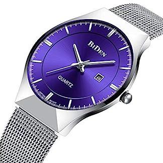 Herren-Einfacher-Designer-Analog-Quartz-Uhren-Silber-Mesh-Strap-Luxus-Datum-Kalender-Ultra-Slim-Armbanduhr-Edelstahlband-30M-Wasserdicht-Geschft-Lssig-Uhr-Blau-Dial-Blau