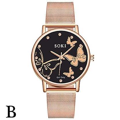 UINGKID-Damen-Armbanduhr-Analog-Quarz-Casual-Edelstahl-Mesh-Belt-Watch-Einfache-Zifferblatt-Quarz-Uhr