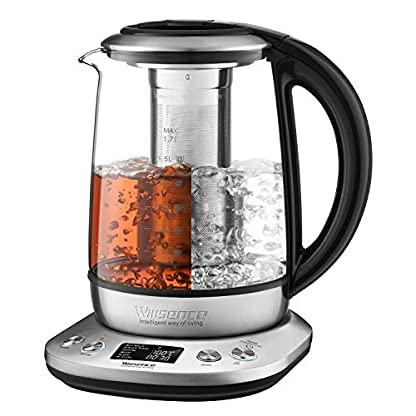 Willsence-Wasserkocher-Glas-Teekocher-2200W-17-Liter-6-Programmierbare-Temperaturregelung-mit-LCD-Anzeige-Auto-Start-und-Warmhalten-Herausnehmbarer-Tee-Infuser