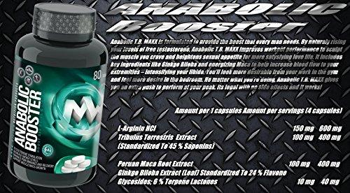 ANABOLIC TB MAXX   80 Tabletten (vegan)   HOCHDOSIERT   Natürlicher Testosteron-Booster   Mit Tribulus + Maca + Arginin + AAKG + Koffein   ALL-IN-ONE