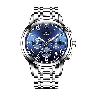 Herren-Luxus-Business-Armbanduhr-wasserdichte-Uhren-mit-Chronograph-Kalender-Analog-Quarzuhr-mit-Blauen-Rmischen-Ziffern-Zifferblatt-Silber-Edelstahl-Armband-und-Sicherheitsverschluss
