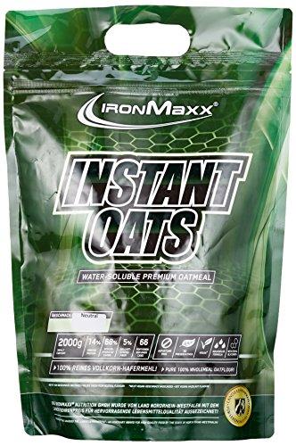 IronMaxx Instant Oats Neutral / Kohlenhydratreicher Shake aus 100% reinem Vollkornhafermehl / Für die Definitions- oder Massephase / Low Fat / 1 x 2kg