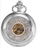 Taschenuhr–Silber-Glatte-Double-Hunter-JB-Steampunk-Taschenuhr-fr-Mnner-Frauen-Skelett-Zifferblatt-mit-Kette-Geschenk-Box