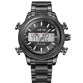 Alienwork-DualTime-Armbanduhr-Herren-Uhr-Edelstahl-Armband-Metallarmband-Metallband-schwarz-Herrenuhr-Analog-Digital-Kalender-Datum-Monat-Wasserdicht-Chronograph-Multi-funktion