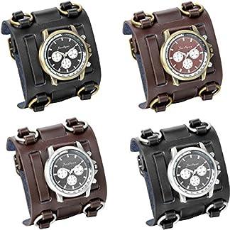 JewelryWe-Herren-Armbanduhr-Analog-Quarzuhr-30M-Wasserdicht-Elegant-Casual-Sport-Uhr-mit-Breit-Leder-Armband-und-Runde-Zifferblatt-4-verschiedene-Modellen