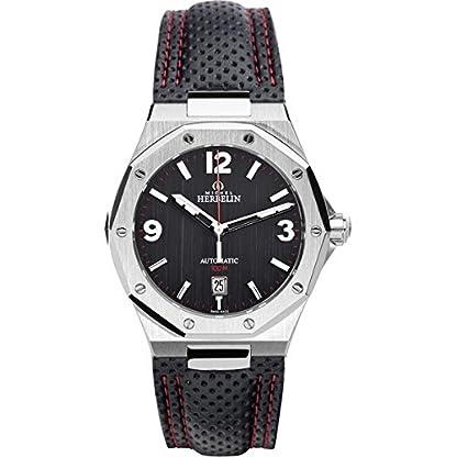 Michel-Herbelin-Unisex-Erwachsene-Analog-Uhr-mit-Leder-Armband-163124