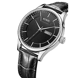 BUREI-Herrenuhren-Przise-Quarz-Armbanduhren-mit-Tag-und-Datum-Kalender-Zifferblatt-mit-Weichem-Lederband-Edelstahlband