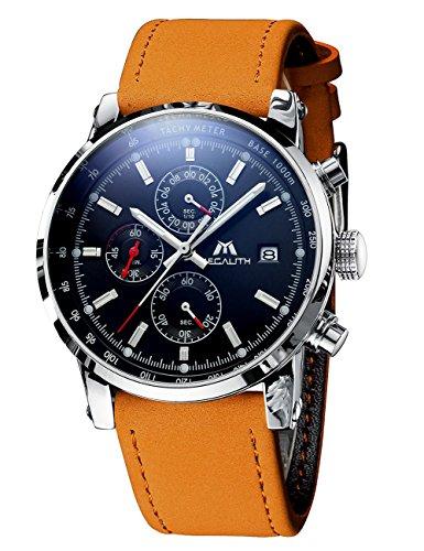 Herren-Uhren-Mnner-Militr-Wasserdicht-Sport-Chronograph-Datum-Kalender-Braun-Leder-Armbanduhr-Luxus-Kleid-Mode-Analog-Quarz-Schwarz-Stopuhr