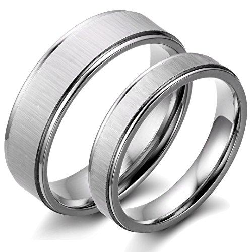 JewelryWe Schmuck 1 Paar Edelstahl matt poliert Partnerringe Freundschaftsringe Eheringe Trauringe Verlobung Ringe Band, Silber