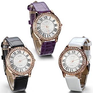 JewelryWe-Damen-Armbanduhr-Analog-Quarz-Exquisite-Leder-Armband-Uhr-mit-Strass-Rmischen-Ziffern-Zifferblatt-Lila-Schwarz-Weiss