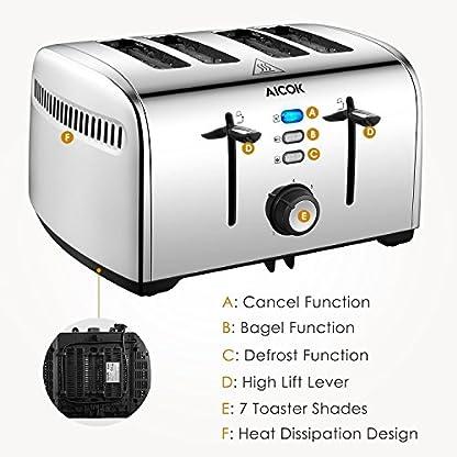 Aicok-Toaster-4-Scheiben-Edelstahl-Toaster-mit-7-Brot-Browning-Einstellungen-abnehmbare-Krmelschublade-BagelAuftauenAbbrechen-Funktion-schnell-Toast-Muffins-Waffel-1400W-1700W-Silber