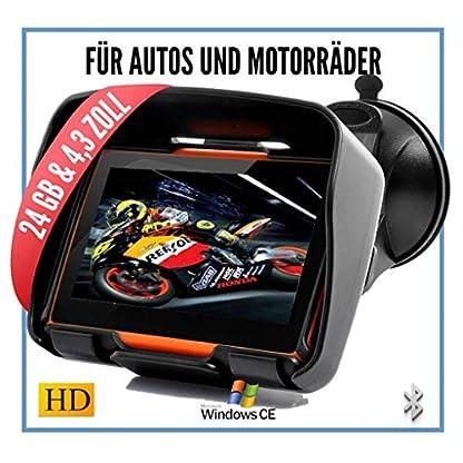 Elebest-Rider-W4-Navigationsgert-43-Zoll-fr-PKW-MotorradWasserdichtGPSNavigation-BluetoothKostenlose-KartenupdateNeuste-Europa-Karten-sowie-Radarwarner24GB-Speicher