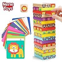 Nene-Toys-Padagogisches-Kinderspiel-ab-3-Jahre-Wackelturm-4-in-1-aus-Holz-mit-Farben-und-Tieren-Spielzeug-fur-Madchen-und-Jungs-von-3-bis-9-Jahren-Stapelturm-Holz-Brettspiel