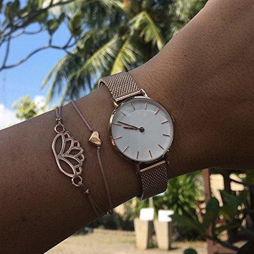 SelfmadeJewelry Herz Armband Roségold – Hellbraunes/Beiges Armband Textil mit rosegoldenem Herz – Größenverstellbar – Handmade
