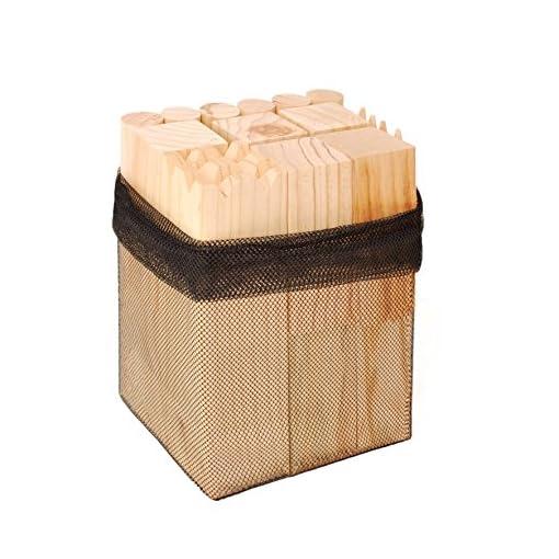 KiLiMANDAde-Kubb-Spiel-Wikingerschach-Schwedenschach-Wikingerspiel-Bauernkegeln-Wikingerkegeln-aus-Kiefernholz-mit-Netz-Tasche