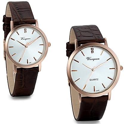 JewelryWe-Herren-Damen-Freundschafts-Armbanduhr-Elegant-Einfach-Business-Casual-Analog-Quarz-Leder-Armband-Uhr-fr-Lieben-Valentinstag-Paar-Paare-Geschenk-Braun
