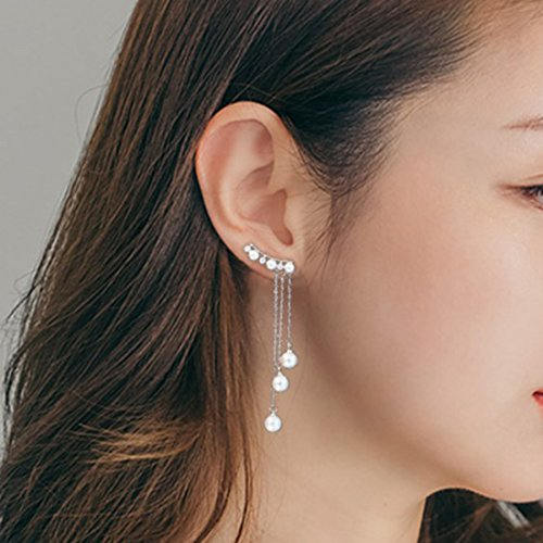 QUKE Damen 925 Sterling Silber Zirkonia Kristall Ear Cuff Dangly künstliche Perle Ohrhänger hängend Ohrringe