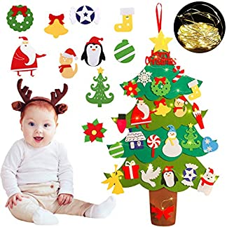 FunPa-Kinder-Weihnachtsbaum-Weihnachten-Hngende-Dekoration-fr-Wand-Tr-Xmas-Weihnachten-Kinder-mit-Abnehmbaren-Weihnachtsbaum-Ornamenten-Lichterketten