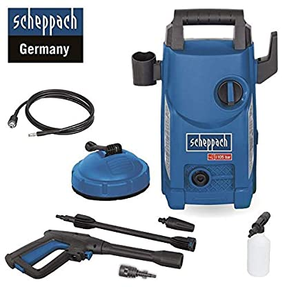 Scheppach-Hochdruckreiniger-HCE1500-105-bar-408-Lh-3m-Schlauch-1400W-Quick-Connect-System-zum-schnellen-Wechseln-der-Aufstze-inkl-7-teiligem-Zubehr-Set