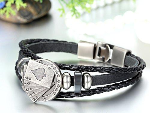 JewelryWe Schmuck Herren Armband, Royal Flush Poker Karte Ringe Geflochten Armreif, Legierung Leder, Schwarz Silber