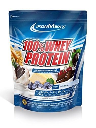 IronMaxx 100% Whey Protein Pulver / Proteinreiches Eiweißpulver für Proteinshake / Wasserlösliches Proteinpulver mit neutralem Geschmack / 1 x 2,35 kg Beutel