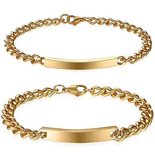JewelryWe Schmuck 2pcs Herren Damen Armband mit Gravur, Lieben Freundschaftsarmband, Glänzend Poliert, Edelstahl, Silber/Gold