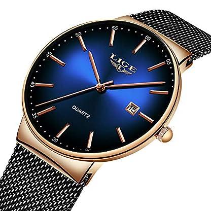 LIGE-Herren-Uhr-Schwarz-Edelstahl-Quarz-Analog-Uhr-Fashion-Einfach-Mesh-Uhren-Mann-wasserdichte-Blau-Armbanduhr