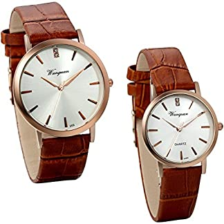 JewelryWe-Herren-Damen-Armbanduhr-Klassiker-Analog-Quarz-Uhr-mit-Echtleder-Uhrenarmband-Lieben-Braun