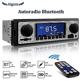 Aigoss-Bluetooth-Freisprecheinrichtung-Autoradio-mit-USBSDAUX-MP3-Media-Player-4-X-60-Watt-Schwarz-Autoradio-Drahtlose-Fernbedienung-Enthalten