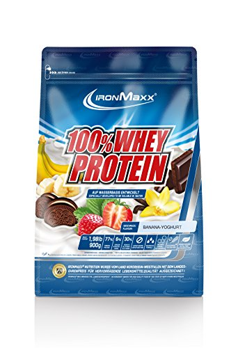 IronMaxx 100% Whey Protein / Eiweißpulver für Fitness-Shake / Wasserlösliches Proteinpulver mit Banane-Joghurt Geschmack / 1 x 900 g Beutel