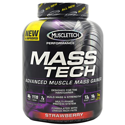 MuscleTech Mass Tech Weight Gainer, 3180g 7LBS, Geschmack:Erdbeere