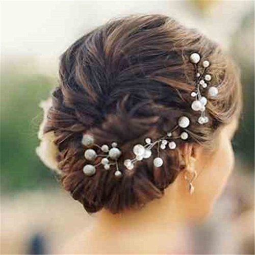Pixnor 6 Stk. Perlen Strass Hochzeit Brautschmuck Braut Haarschmuck Strass Haarklammer