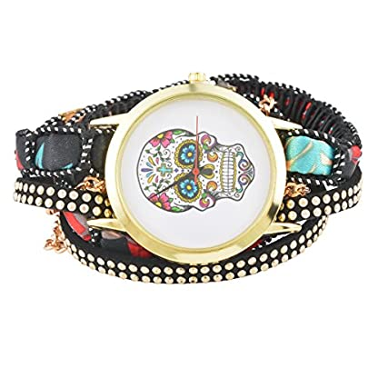 MJARTORIA-Damen-Skelett-Motiv-Armbanduhr-Elegant-Boho-Indien-Mode-Design-Damenuhr-Analog-Quarz-Uhr-Schwarz
