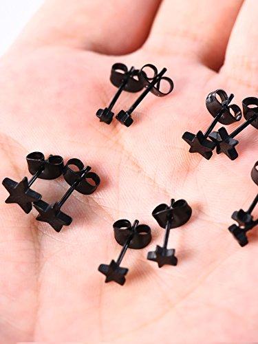 5 Paare Edelstahl Stud Ohrring Schwarz Ohrringe Stern Ohr Stud Set für Männer und Frauen, 3 mm bis 7 mm, 18 Gauge