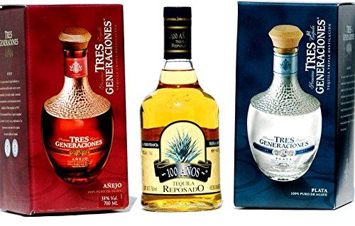 Sauza-Tequila-3er-SET-Reposadoanejo-Plata