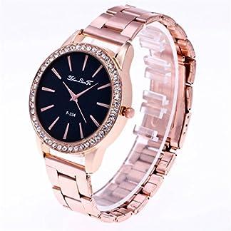 Souarts-Damen-Einfach-Design-Edelstahl-Armbanduhr-Quartzuhr-Analog-mit-Batterie-Rosegold-Farbe